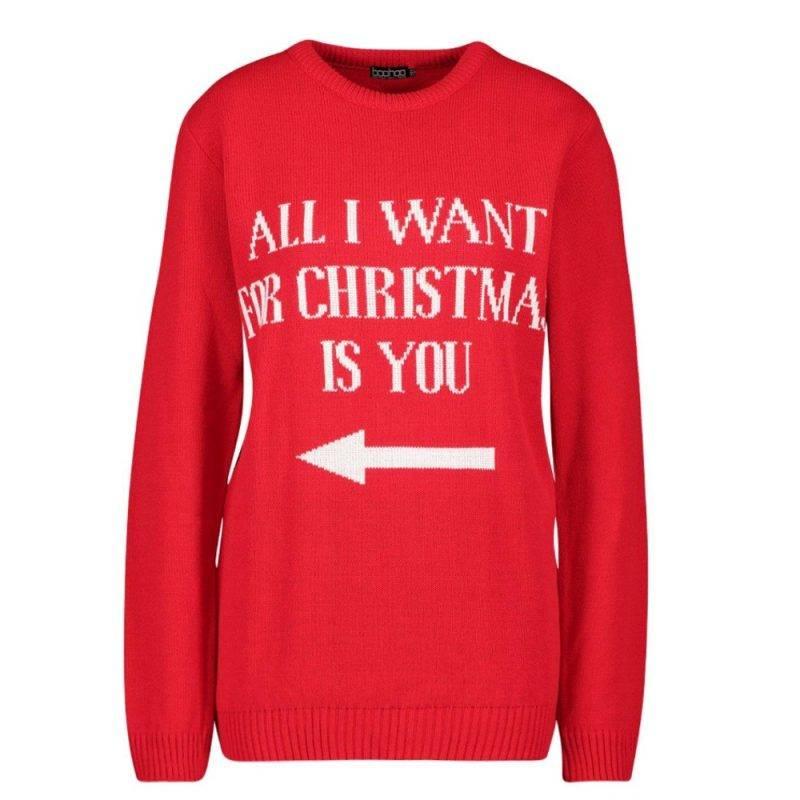 """Jultröja för singlar med text """"all i want for christmas is you"""