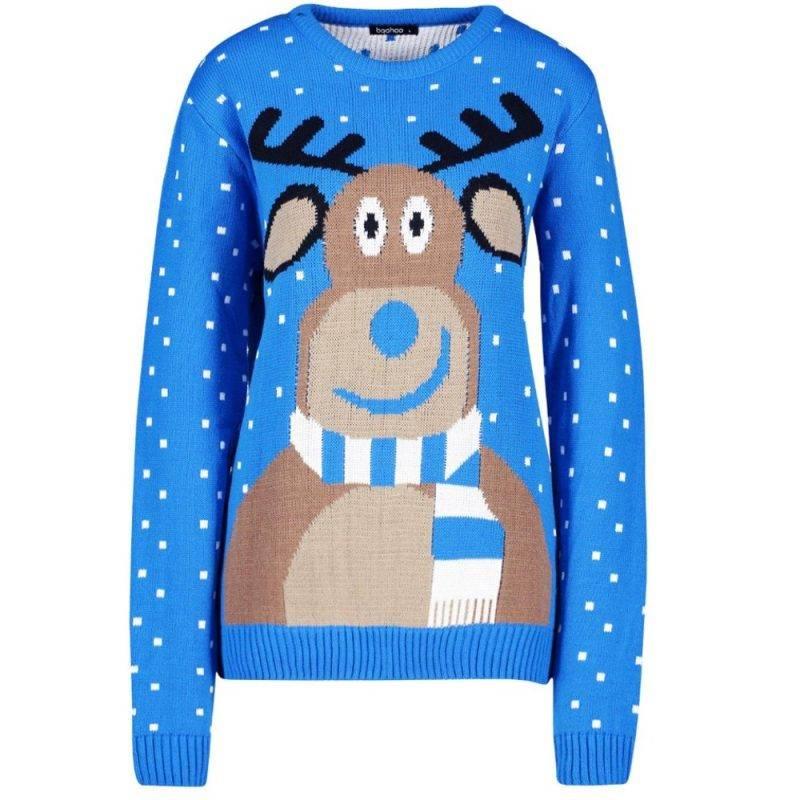 Blå jultröja med en ren på från boohoo