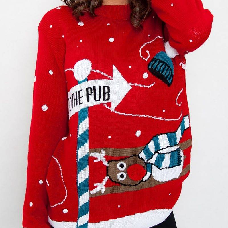 """Jultröja från med pil """"go to the pub"""""""
