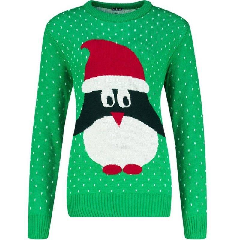 Grön jultröja med pingvin på från Boohoo