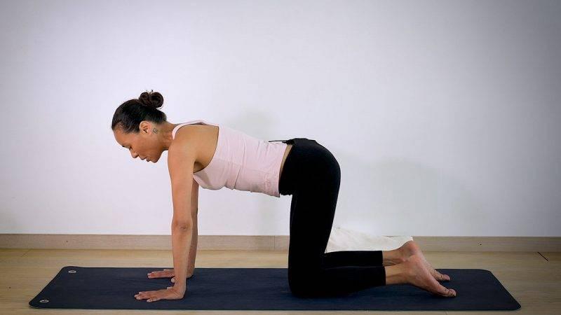 Johanna Ljunggren gör yogapositionen Katt och ko