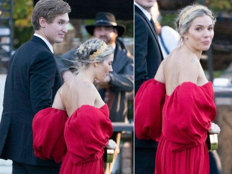 Sienna Miller på Jennifer Lawrence bröllop
