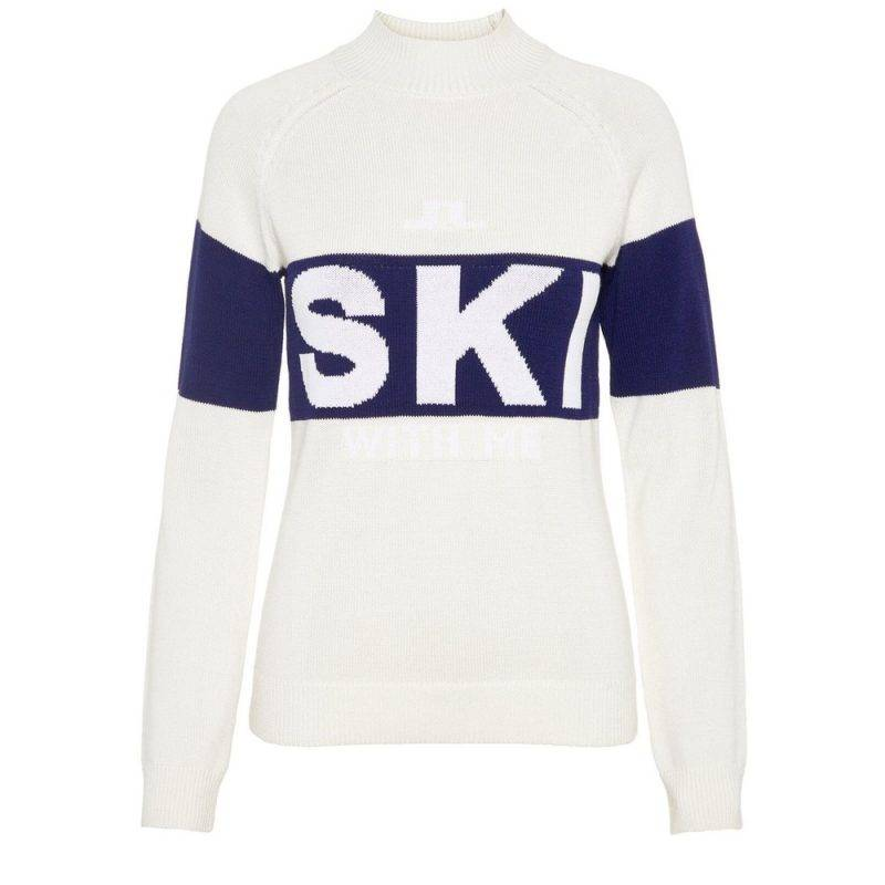 """Vit tröja med tryck """"Ski"""""""