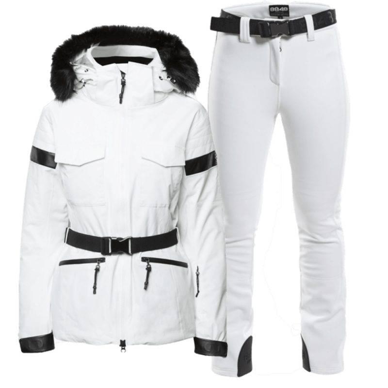 Skidbyxor och jacka i vitt