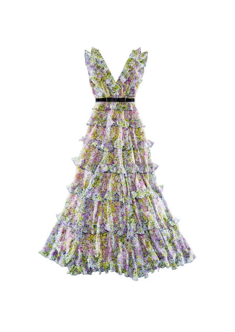 Långklänning med ett vackert blommönster från Giambattista Valli x H&M.