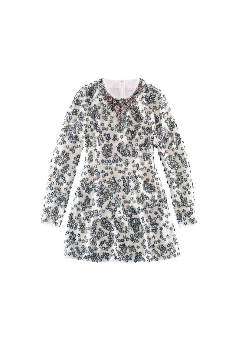 Kort långärmad klänning med broderade stenar från Giambattista Valli x H&M.