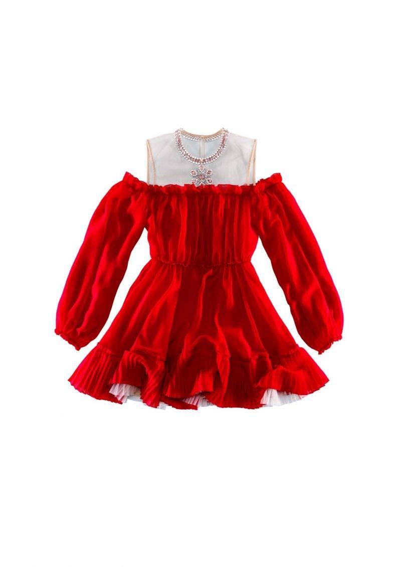 Röd volangklänning med arbetade detaljer från Giambattista Valli x H&M.