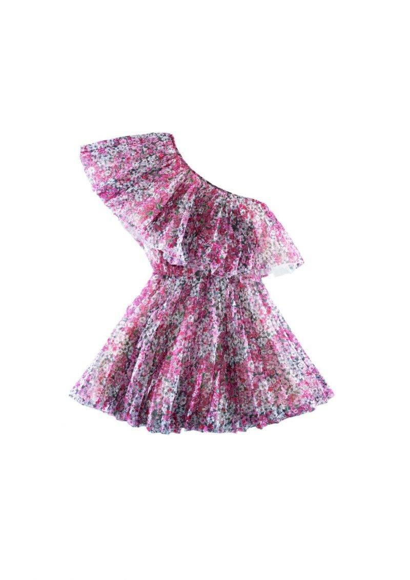 Blommig klänning med one-sholder från Giambattista Valli x H&M.