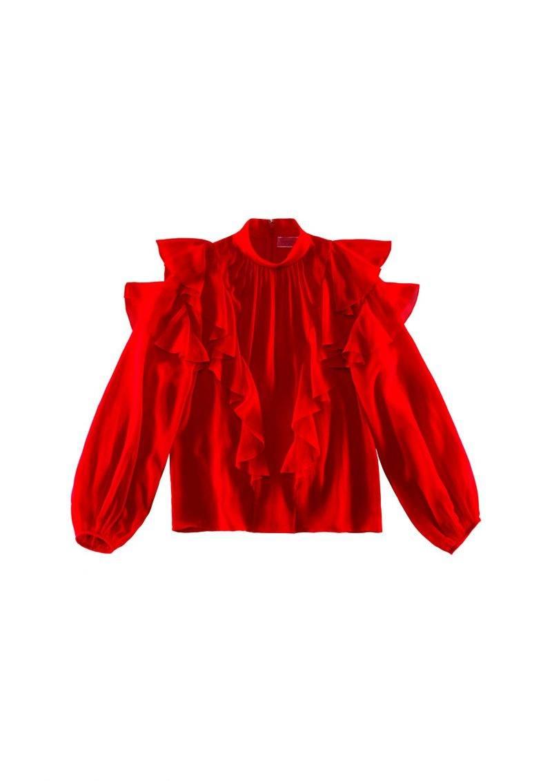 Röd blus med voluminösa volanger från Giambattista Valli x H&M.
