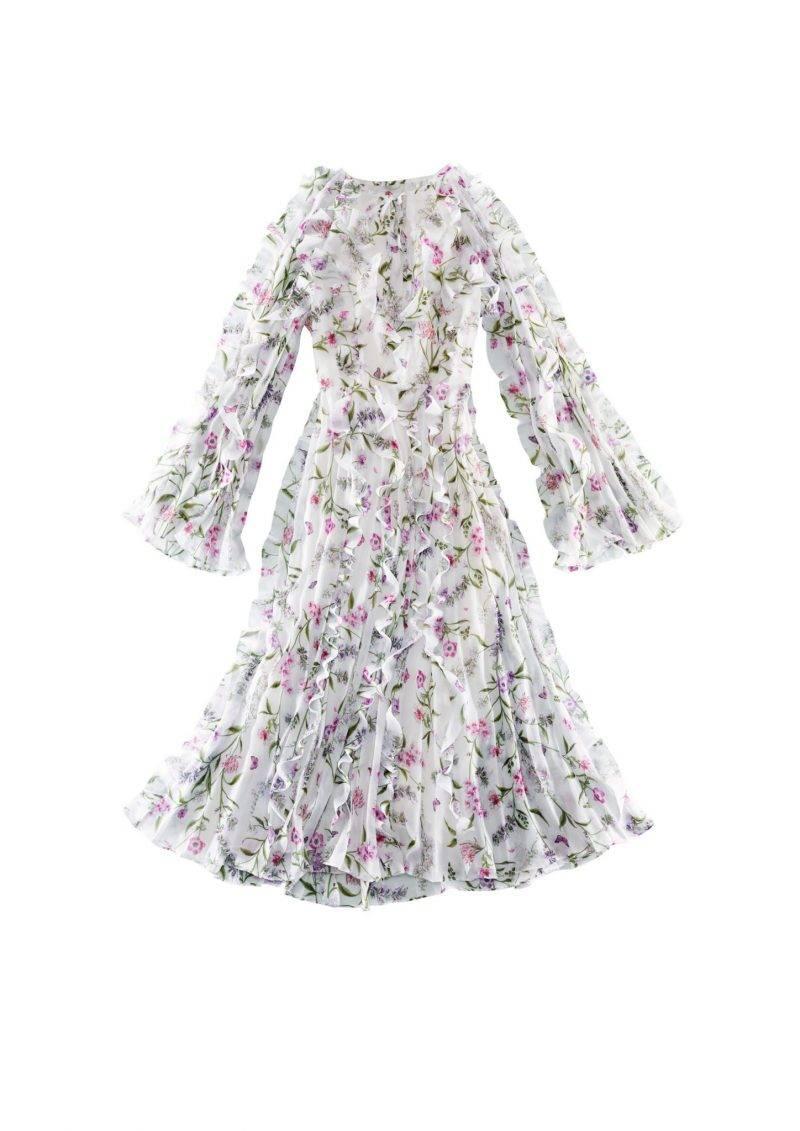 Långklänning med blommigt mönster och volangdetaljer från Giambattista Valli x H&M.