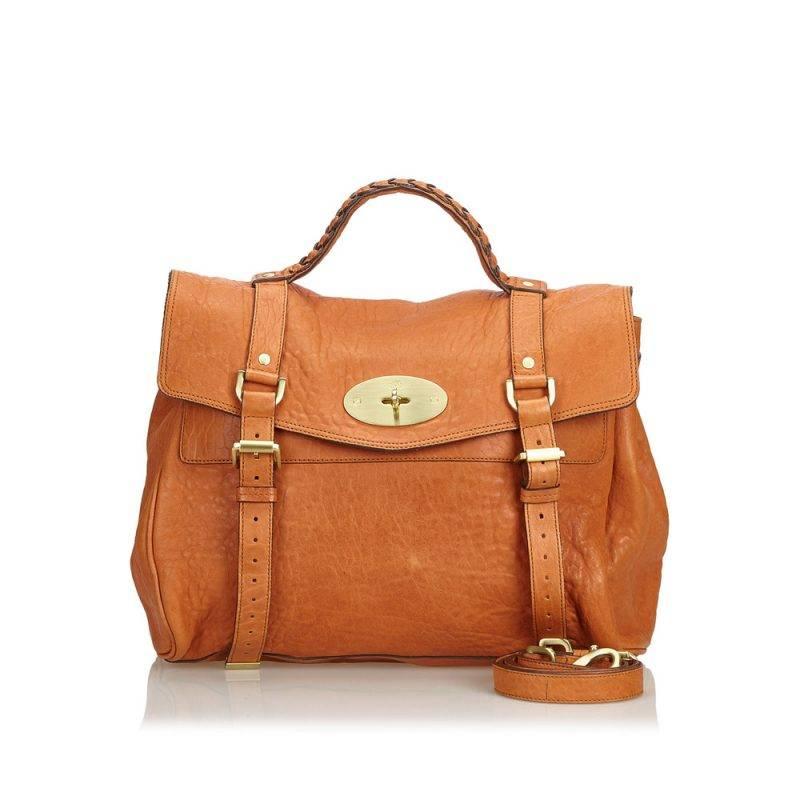Vintageväskan Alexa leather Satchel från Mulberry i ljusbrunt läder.