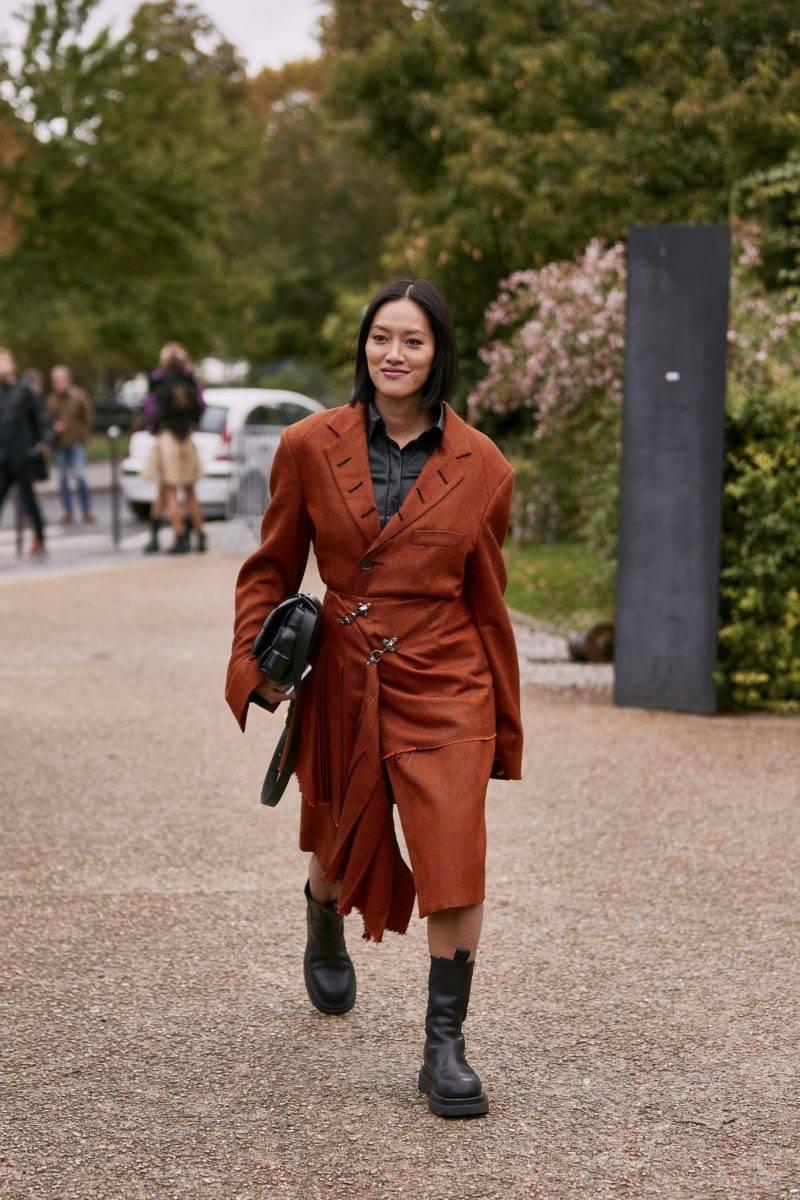 Streetstyleinspiration. Chunky boots med rostfärgad kappa.