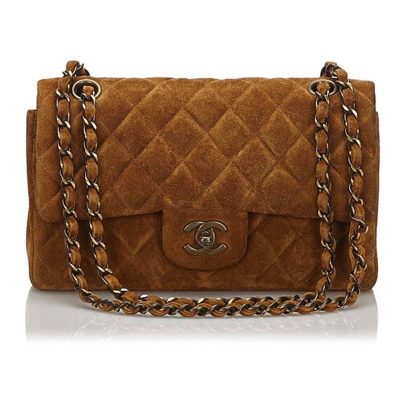 Vintageväska från Chanel i brun mocka.
