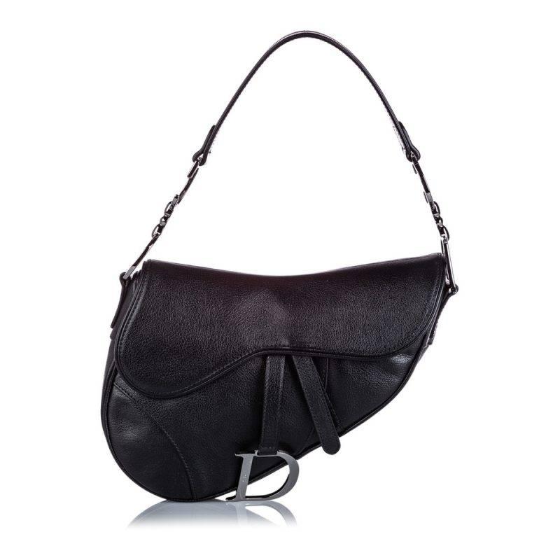 Vintage väska från Dior. Svart saddle bag.