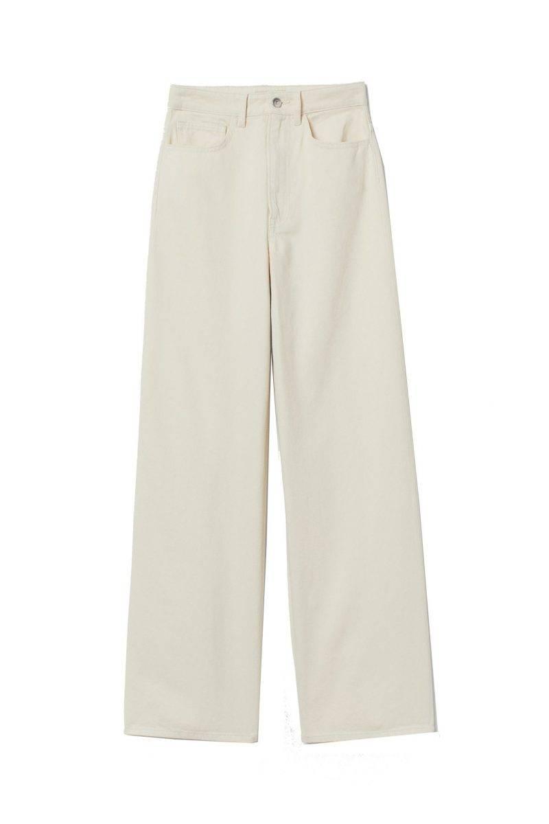 Högmidjade jeans från H&M med vida rakt skurna ben och kraftigt bomullstwill.
