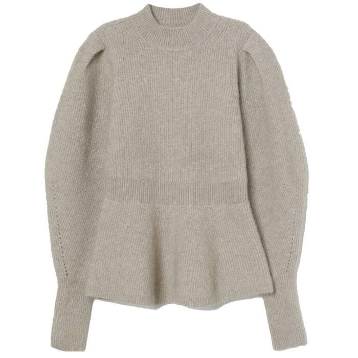 Stickad tröja med volang från h&m