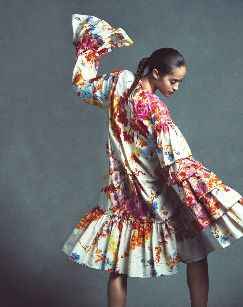 Festklänningar, blommig långärmad klänning från Dries Van Noten