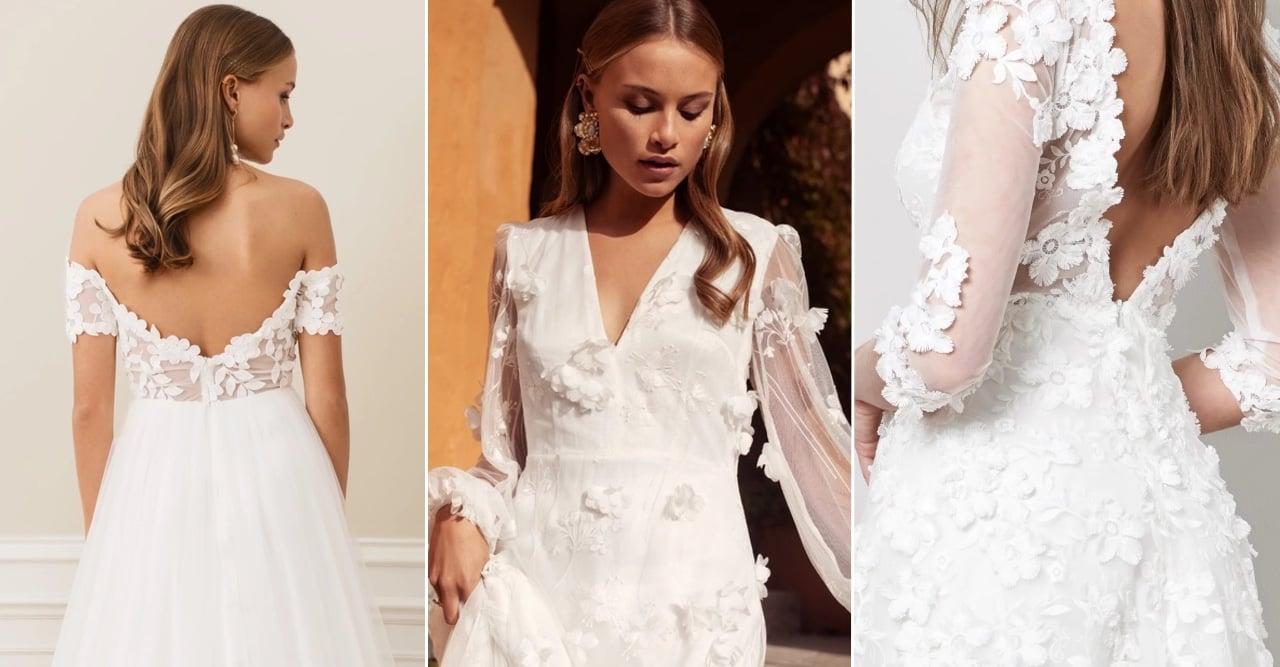 vackra bröllopsklänningar med 3D-blommor