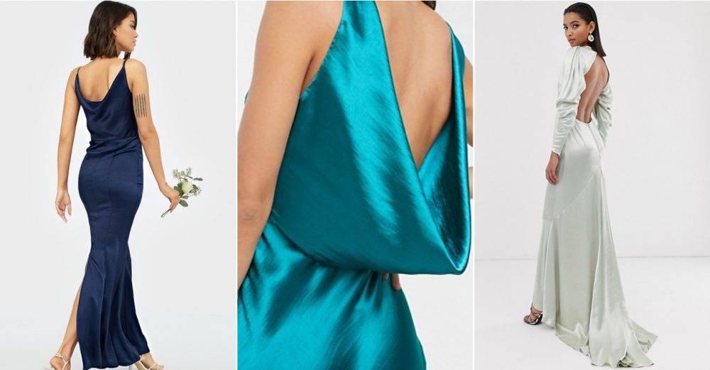Satinklänning till bal eller bröllop 2020
