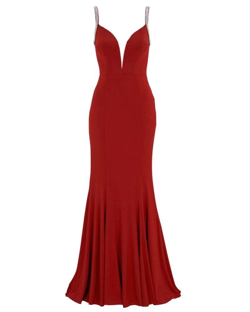 Röd balklänning med v-ringning