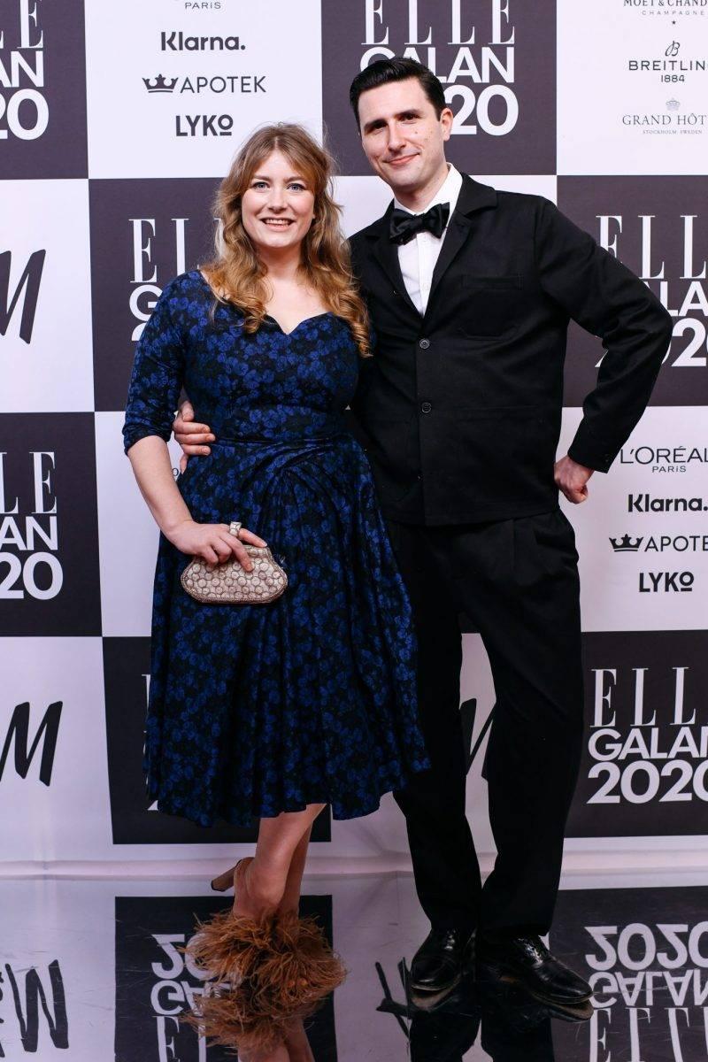Elsa Billgren och Pontus de Wolfe på röda mattan på elle-galan 2020