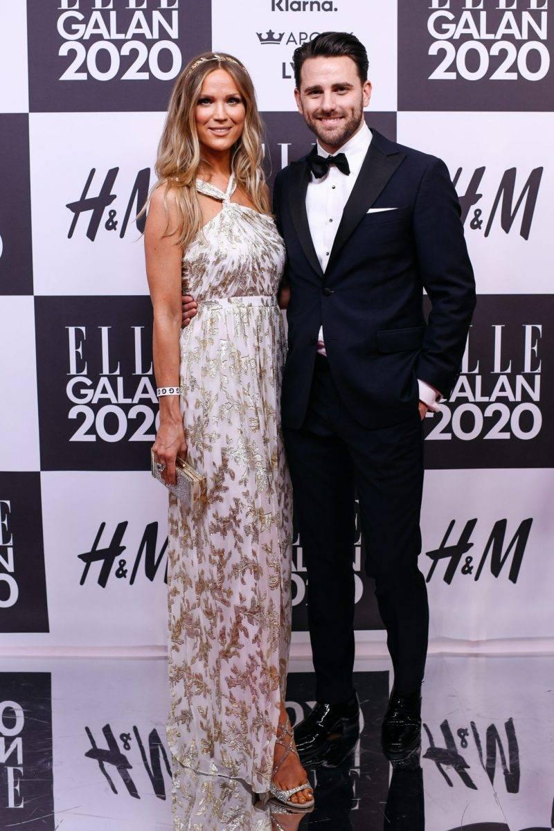 Marie Serneholt och Fredric Palmqvist på röda mattan på elle-galan 2020