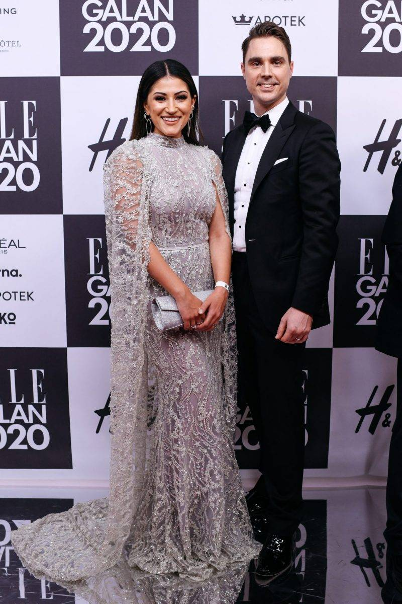 Nikki Amini och Niklas Twetman på röda mattan på elle-galan 2020