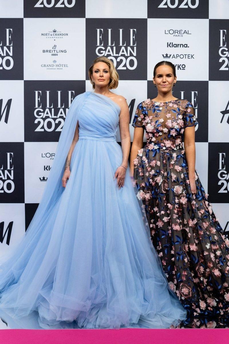 Carolina Gynning och Frida Jonsvens på röda mattan på elle-galan 2020