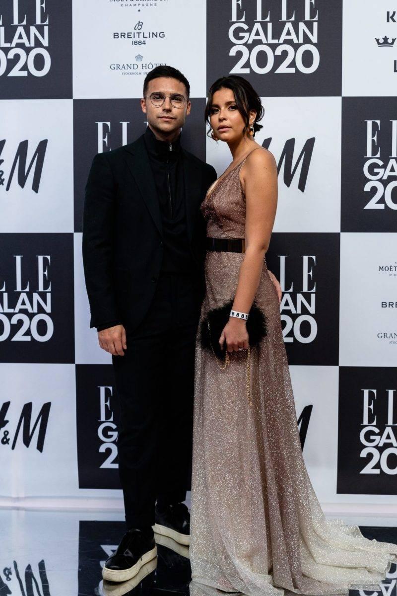 Eric Saade och Nicole Falciani på röda mattan på elle-galan 2020