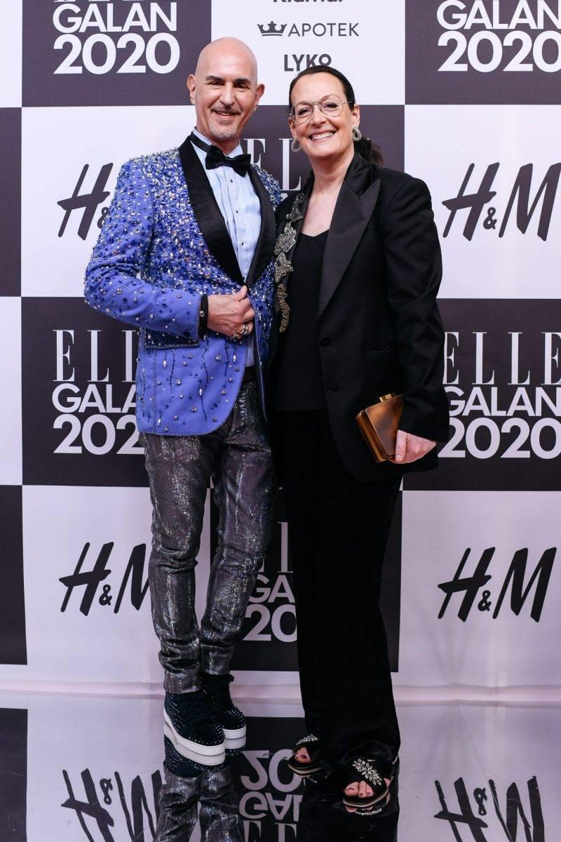 Micael Bindefeld och Cia Jansson på röda mattan på elle-galan 2020