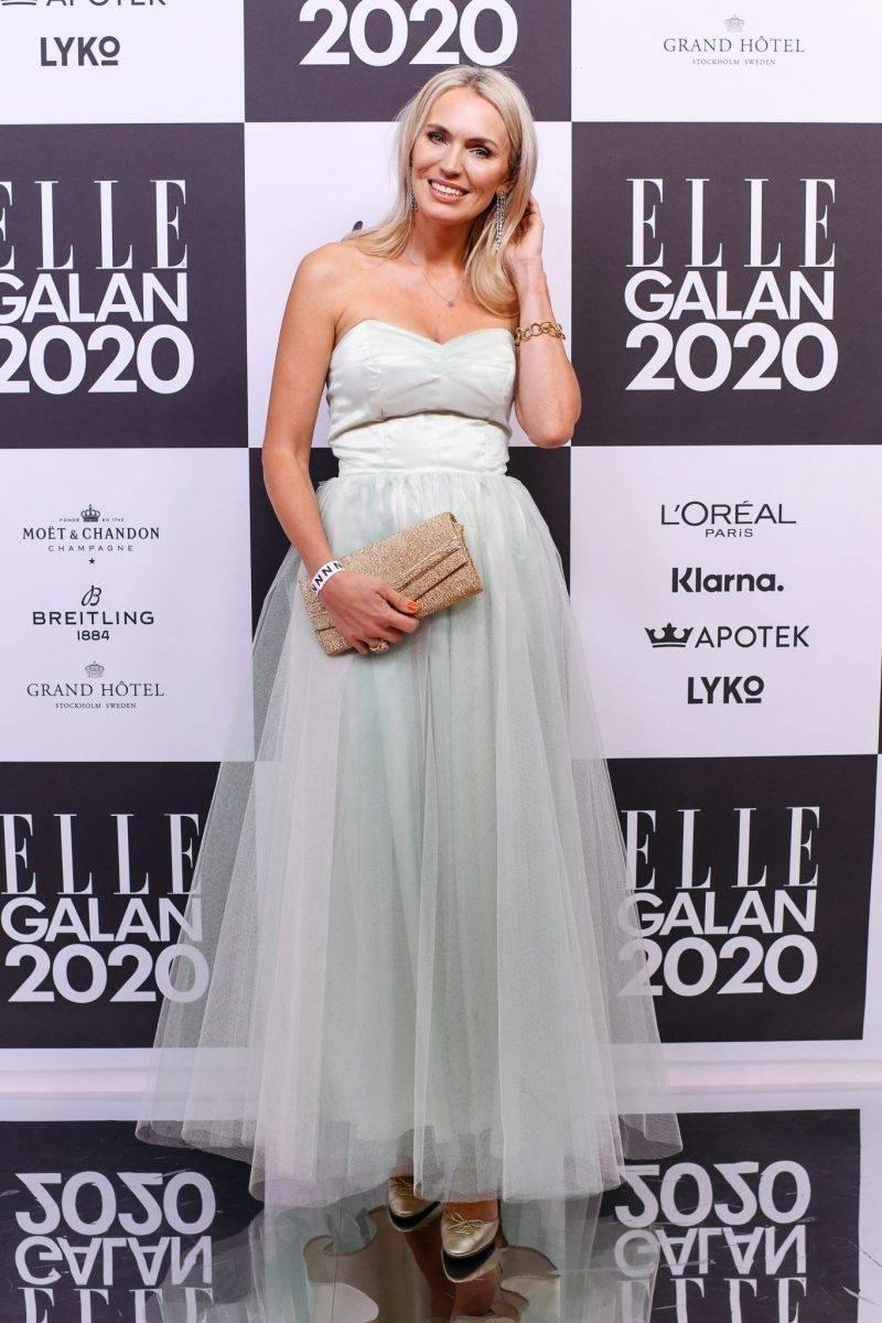 Andrea Brodin på röda mattan på elle-galan 2020