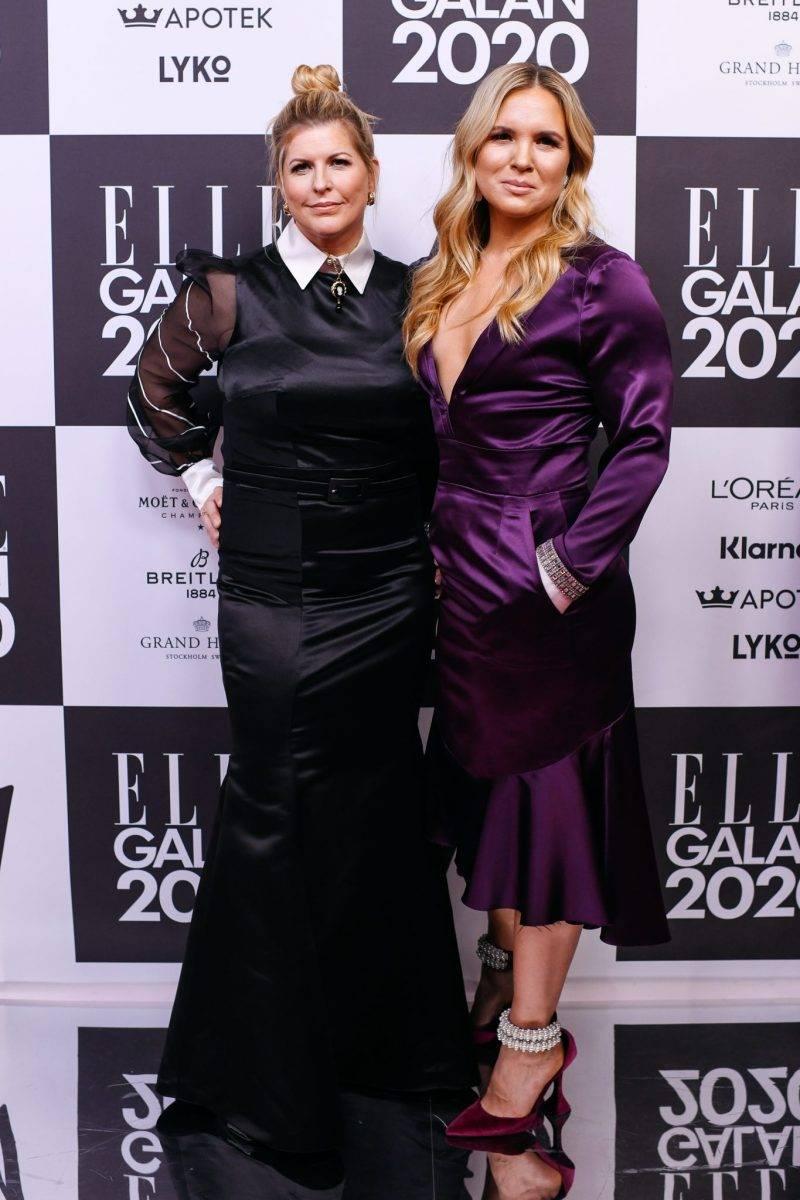 Filippa Rådin och Anja Pärson på röda mattan på elle-galan 2020