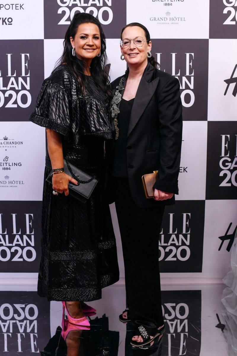 Bodil Ericsson Torp och Cia Jansson på röda mattan på elle-galan 2020