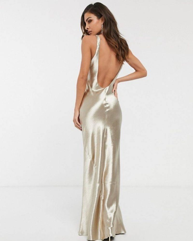 Champagnefärgad brudklänning balklänning