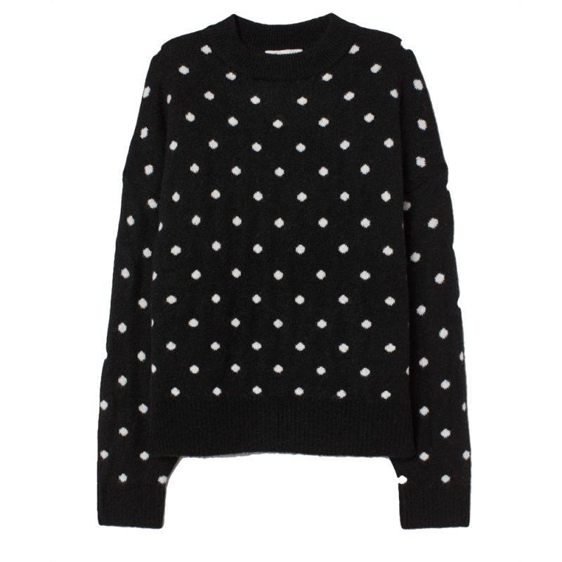 Stickad prickig tröja från h&M