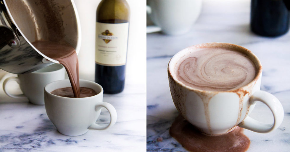 varm choklad med rödvin