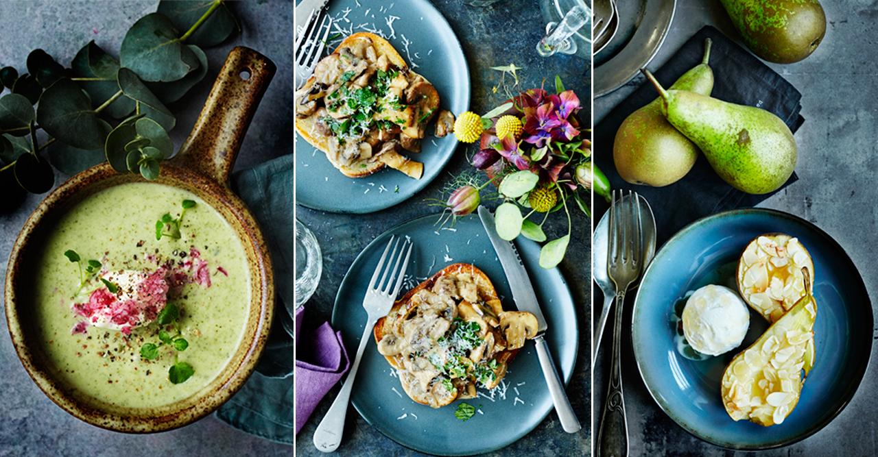 Vegetarisk meny med potatis och svamp