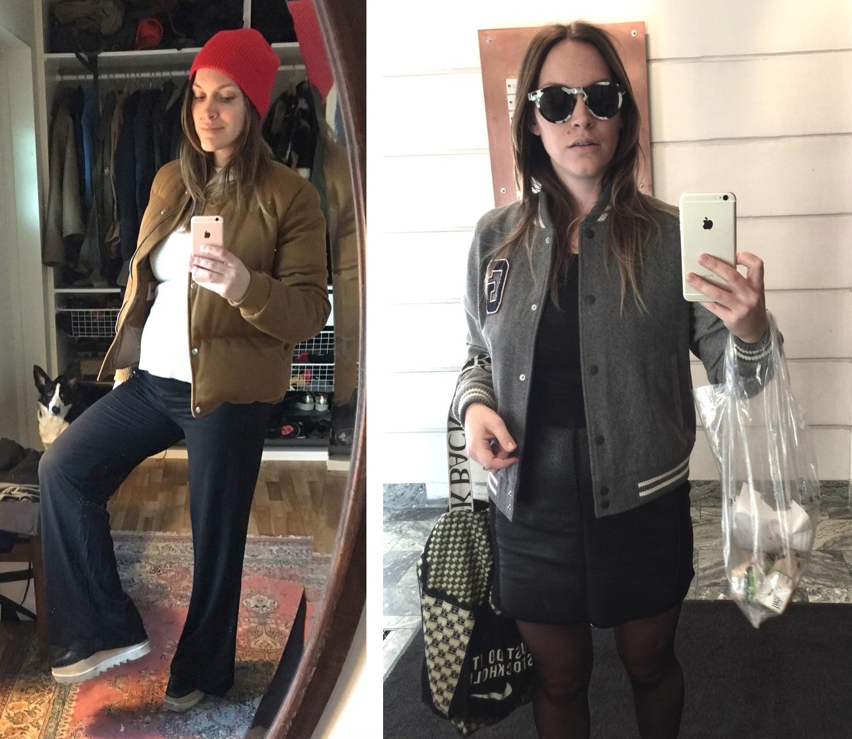 Här är två outfits jag tyckte extra mycket om sådär i början med lillmagen.  Den till vä består av mina älskade Stella-skor 2364c119620c1
