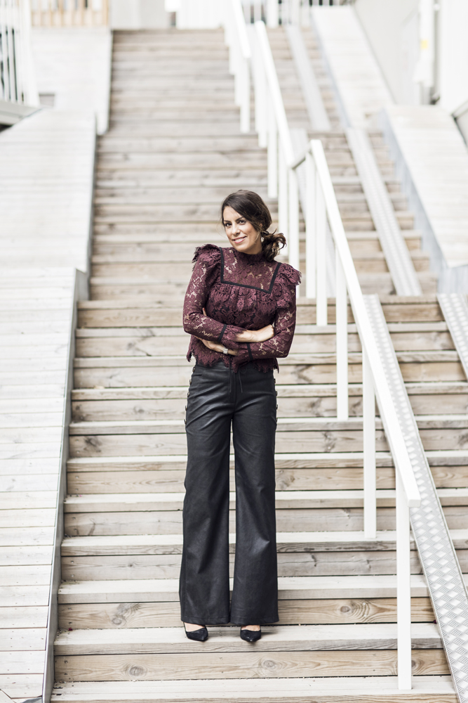 nina campioni ootd outfit of the day, top ganni, pants valerie, shoes prada