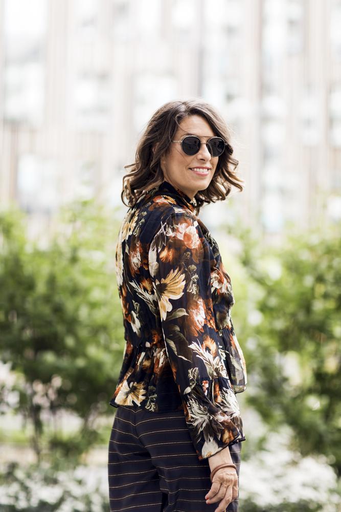 Nina Campioni outfit of the day, Gestuz top, Marimekko handbag, tiger of sweden glasses, pants by Custommade