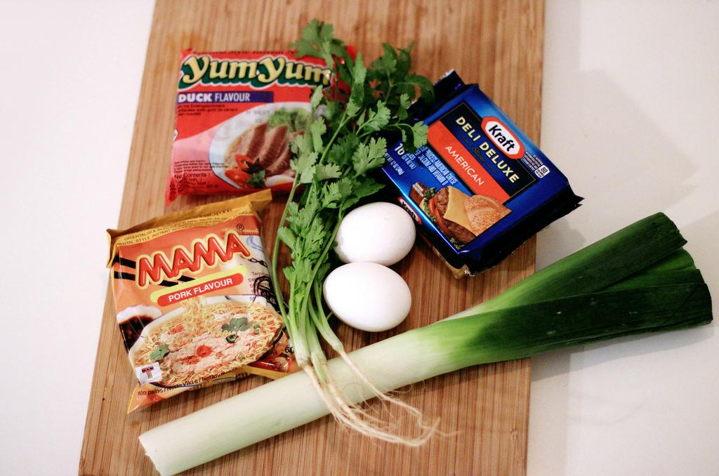 instant cheese ramen.