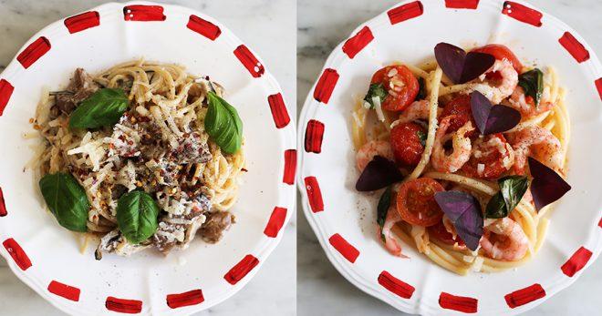 två pastarecept: ett gräddigt med svamp och ett citronigt med räkor.